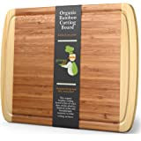 """XL Bamboo Cutting Board - Lifetime Replacement Wood Cutting Board - 18 x 12.5"""" - Organic Chopping Board for Meat and Vegetabl"""