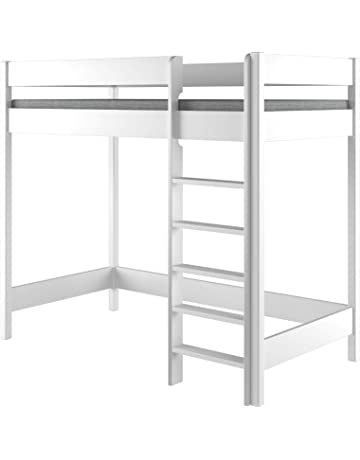 Hubi Loft Bunk Bed Cama alta, madera, Blanco, 180x90x160