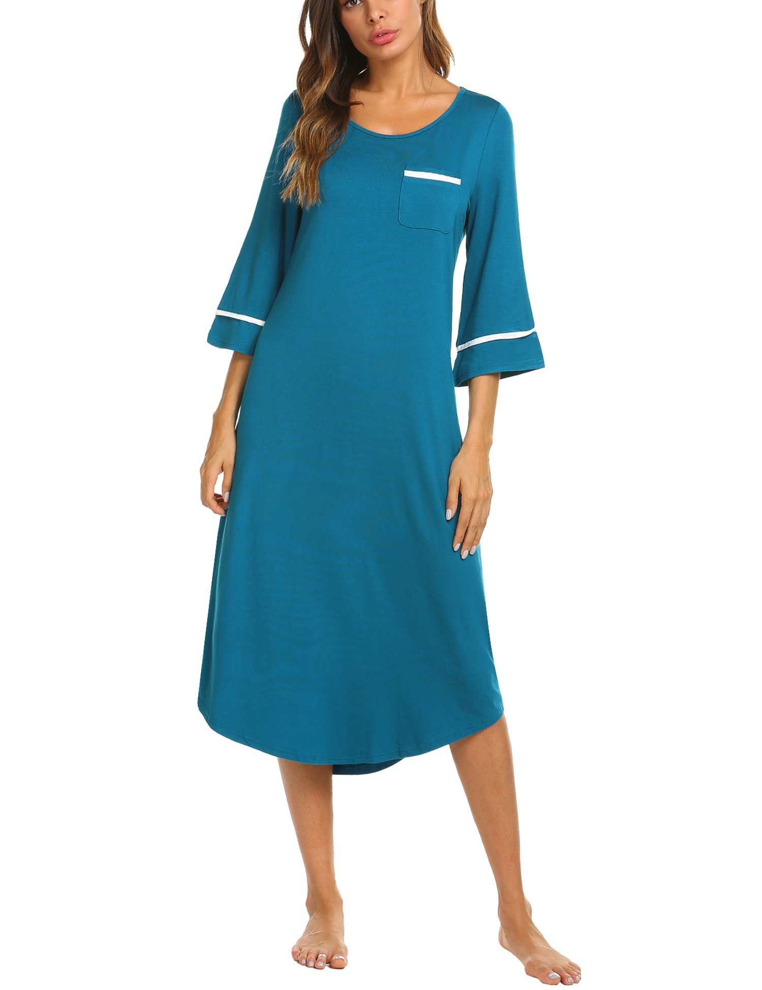 1659d0701ab Ekouaer Nightgown Womens Sleepwear Half Sleeve Nightshirt Soft Long Sleep  Dress