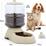 Automatic Pet Feeder - 3.5 Litre Dog or Cat Gravity Pet Feeder with Non Skid feet - Refeeding foodbowl for Pets Large and Small - Wide Opening with lid at top for Easy Refill