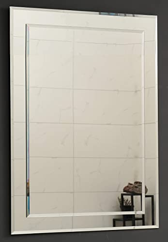 Large Double Rectangular Beveled Wall Mirror Silver Backed Rectangle Mirrored Glass Vanity, Bedroom, or Bathroom Hangs Horizontal Vertical Frameless 24 W x 36 H