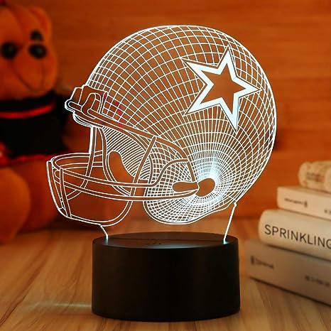 fac051d5 Dallas Cowboys Helmet Night Light 3D Football Helmet Illusion  Lamp,Children's Day Best Gift,Football Fans Kids Bedroom Decor Bedside  Lamp,7 Colors ...