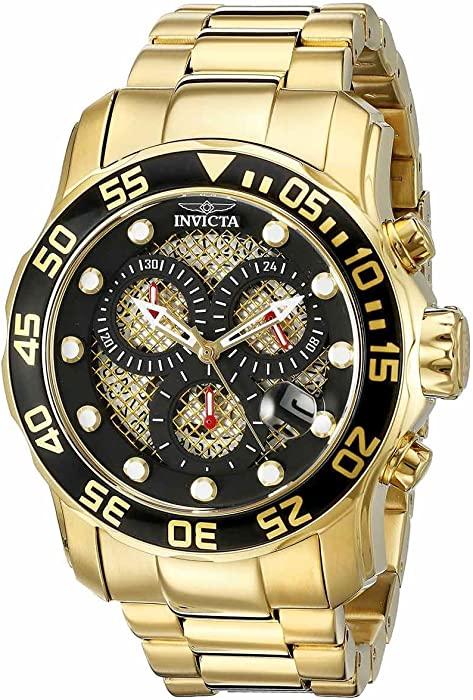 Invicta Mens 19837 Pro Diver Analog Display Swiss Quartz Gold Watch