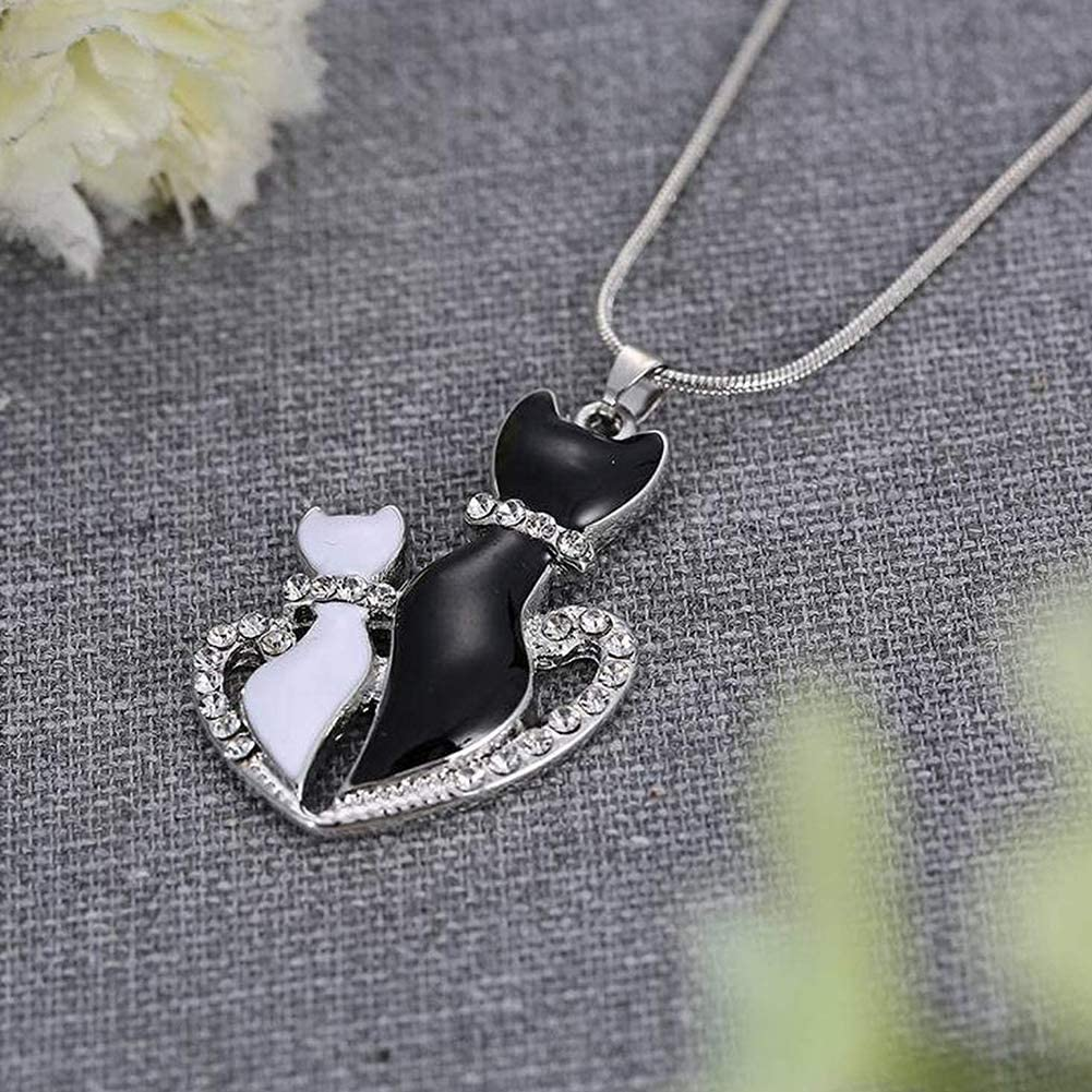 studs Birthday Jewelry such as bracelets Christmas anklets Sasitober Black and White Cat Couple Pendant Necklace Lovely Kitty Necklace Romantic Gift for Anniversary etc.
