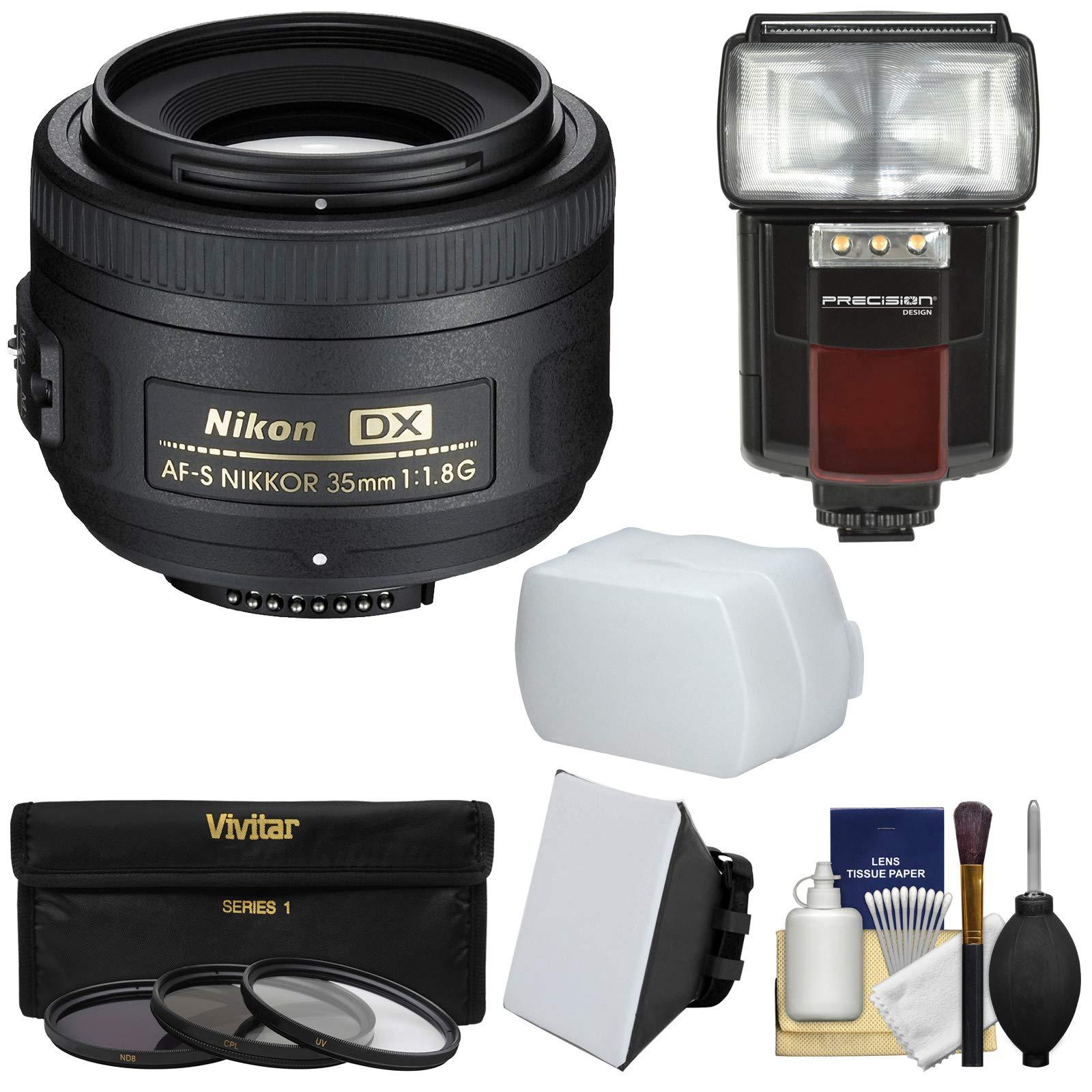 Nikon 35mm f/1.8 G DX AF-S Nikkor Lens with 3 Filters + Flash & 2 Diffusers Kit for D3200, D3300, D5300, D5500, D7100, D7200 Cameras