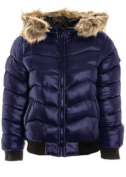 1598123e4579 janisramone Womens Ladies New Fur Hooded Padded Quilted Badge Puffer Shiny Bomber  Jacket Warm Winter Coat  Amazon.co.uk  Clothing