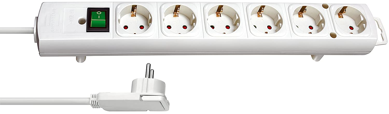 mit Flachstecker, Schalter, 2m Kabel und extra breite Abst/ände der Steckdosen Brennenstuhl Comfort-Line Plus Farbe: wei/ß Steckdosenleiste 6-fach