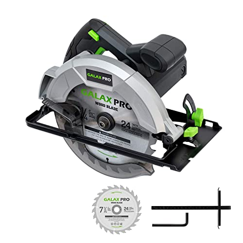 Circular Saw, HYCHIKA 12.5A Electric Saw with Fixed Speed 4700RPM, 2Pcs Blades 24T 40T 7-1 2 , Max Cutting Depth 2-1 2 90 , 1-4 5 45 , Laser Guide, Pure Copper Wire Motor, 10Ft Power Cord