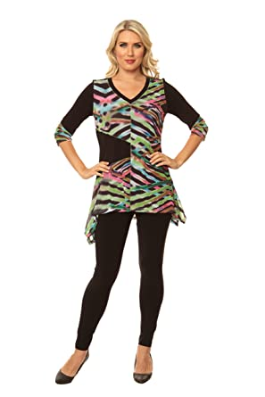 65c8716feae Lior paris Women's Multi-Color Angles Pattern Tunic with Three Quarter  Sleeve and Asymmetric Hem