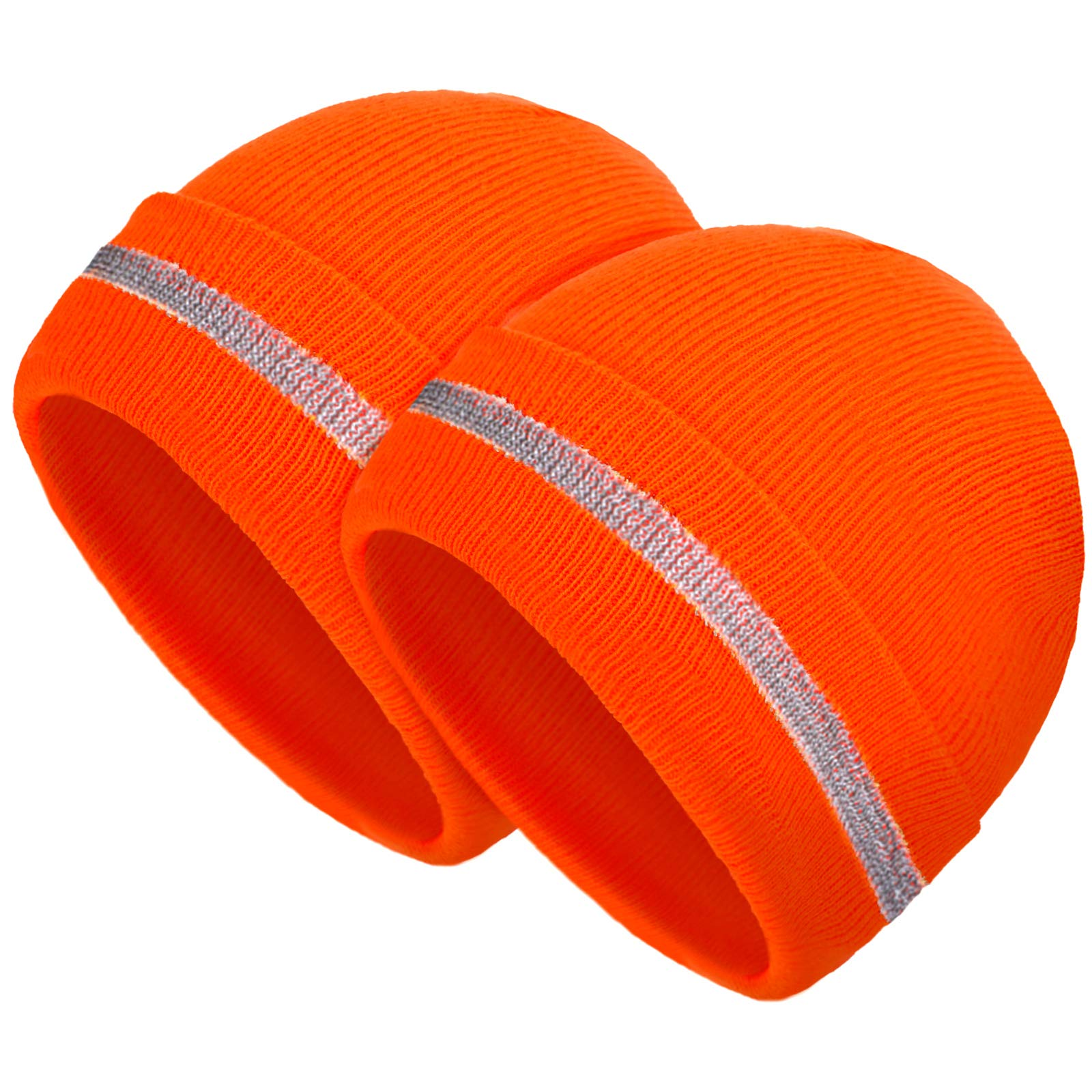 Geyoga 2 Pieces Adult Reflective Knit Beanie Hats Warm Winter Hats Headwear for Work,Running