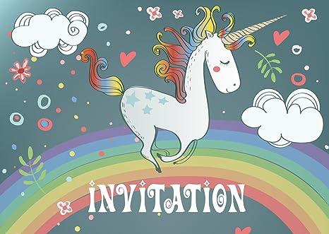 Edition Colibri 10 Invitations En Français Licorne Sur L Arc En Ciel
