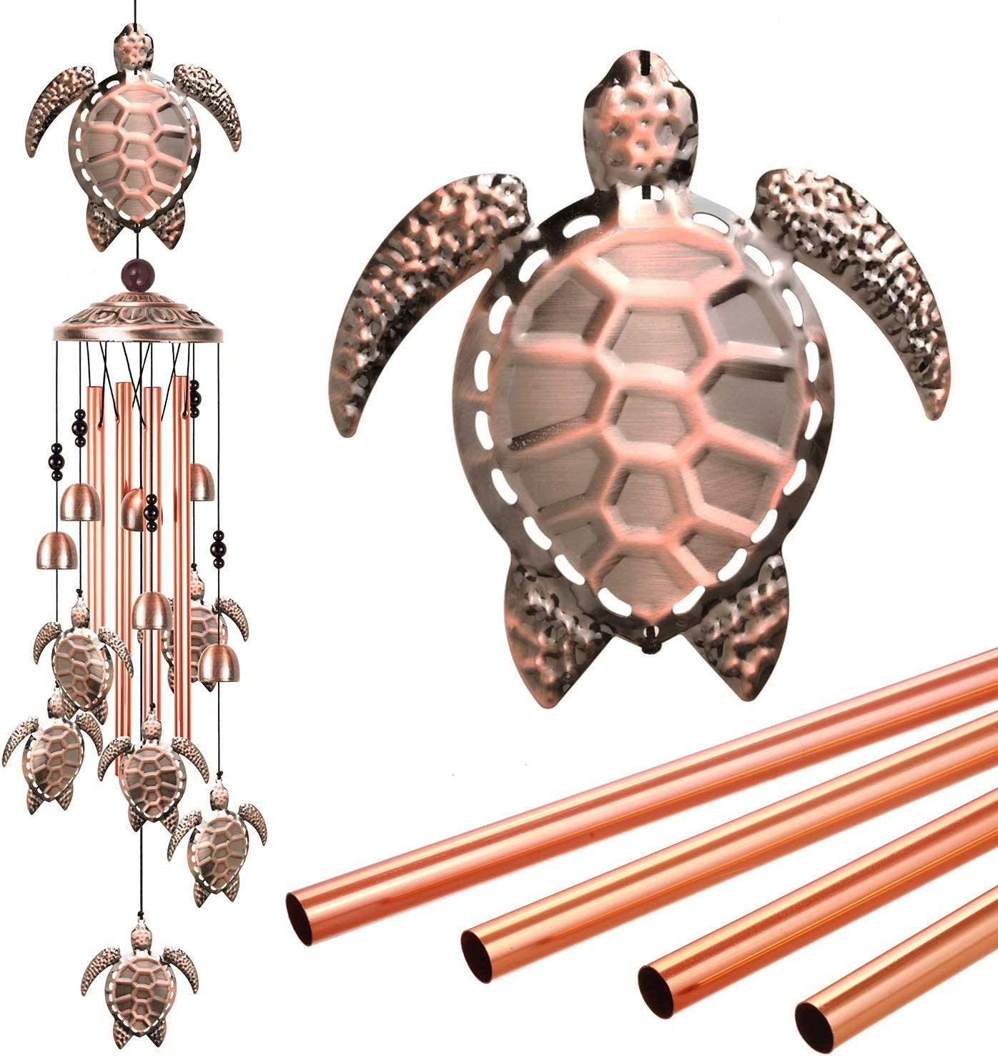 ME9UE Sea Turtle Wind Chimes Outdoor Decor, Mobile Sea Turtles Wind Chime, Turtle Wind Bell, Wind Chime with 7 Turtles for Home, Yard, Patio, Garden Decoration, Valentines Gift, Festival Gift for Mom