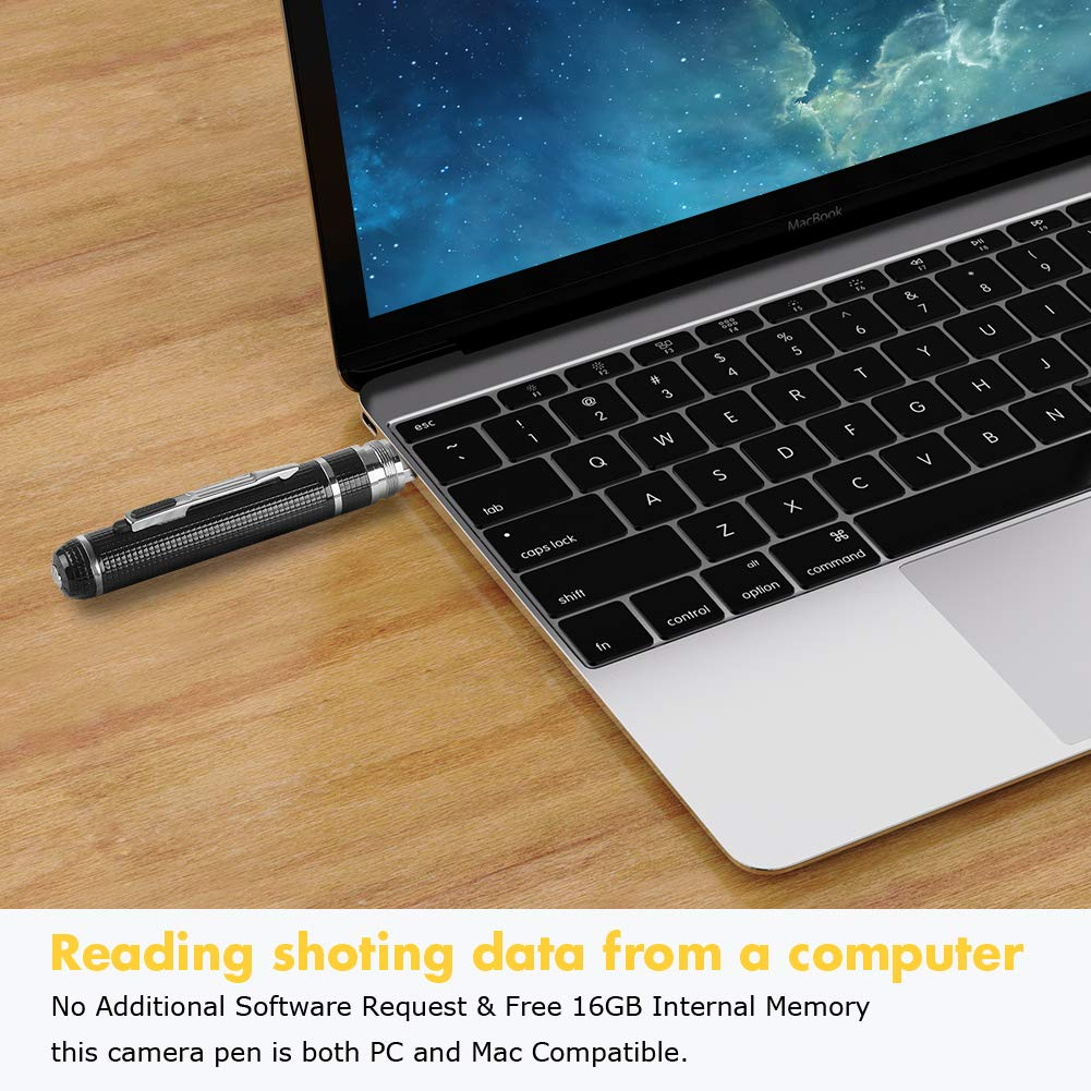 USB Port Aluminum Alloy Body 16GB Memory and 120 Mins of Recordings Time Hidden Camera Pen,Spy Camera with Video 1080P HD Covert Cam with 3 Replaceable Ink Refills for Business//Daily Activities