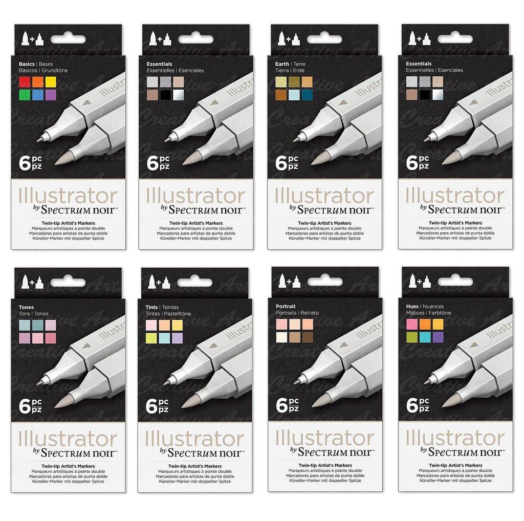 Spectrum Noir Illustrator Twin End Artist Craft Pen Set - All 8 Packs by Spectrum Noir