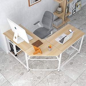 SDHYL Corner Desk Large Size L Shaped Desk Computer Desk Home Office Desk L Shaped, Oak S7-LD-Z01OK-US