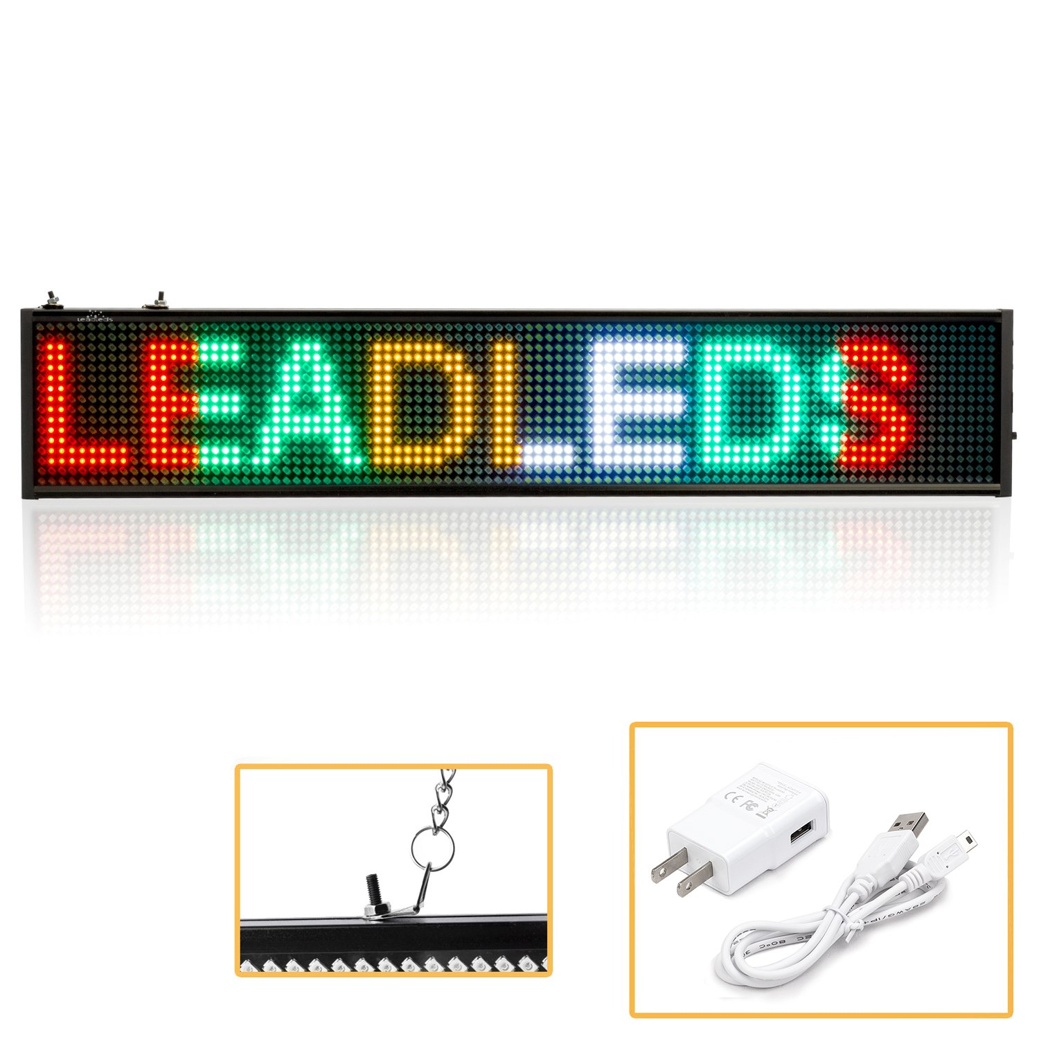 Leadleds K1696MC LED Message Board RGYW Multi-Color LED Sign Programmable Scrolling for Business Home Decoration Christmas Sign Lighting (20'' x 4'')