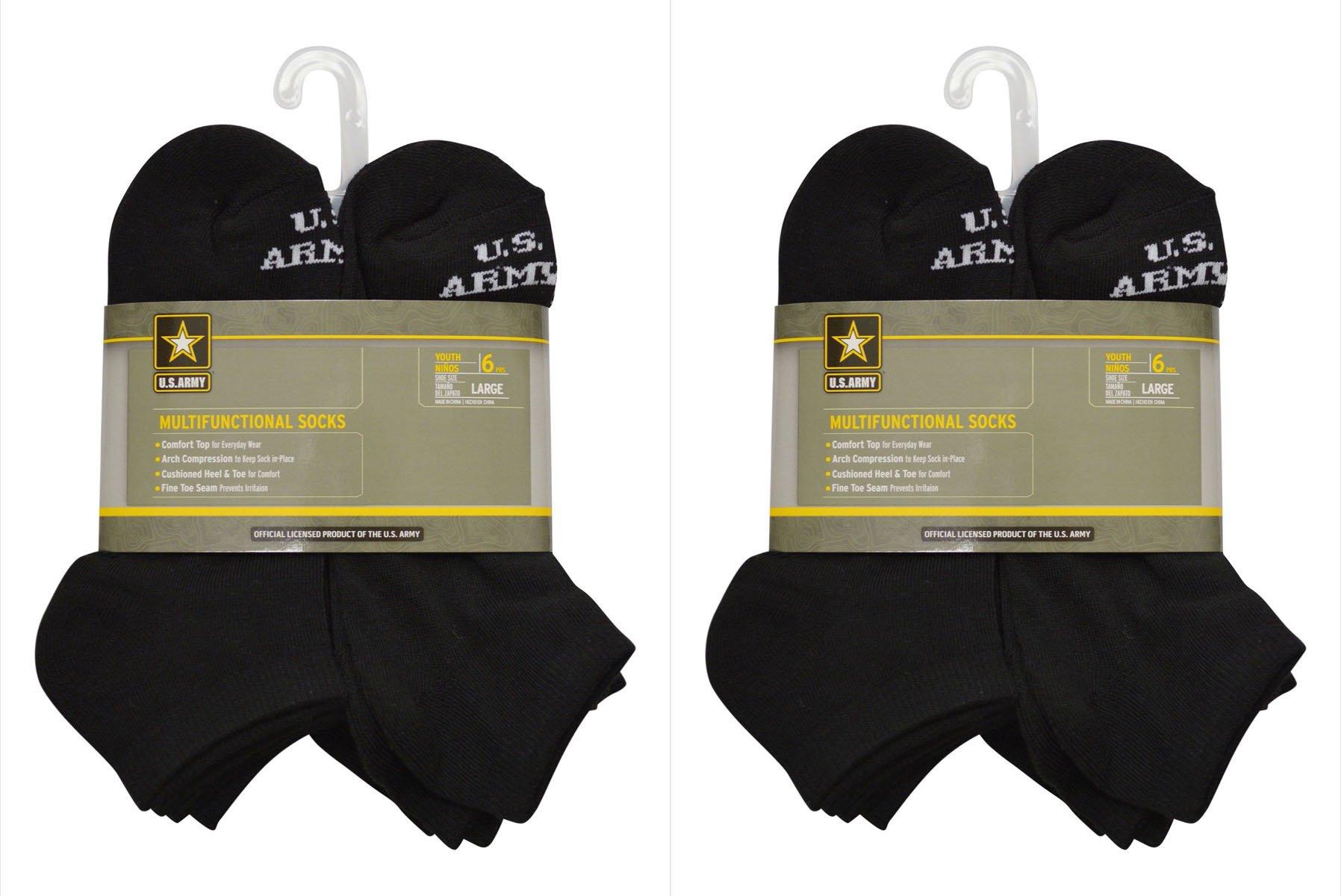 U.S. ARMY Kids' Medium 12 Pairs (2 Packs Of 6) Multifunctional Low Cut Socks (Black) by U.S. Army (Image #2)
