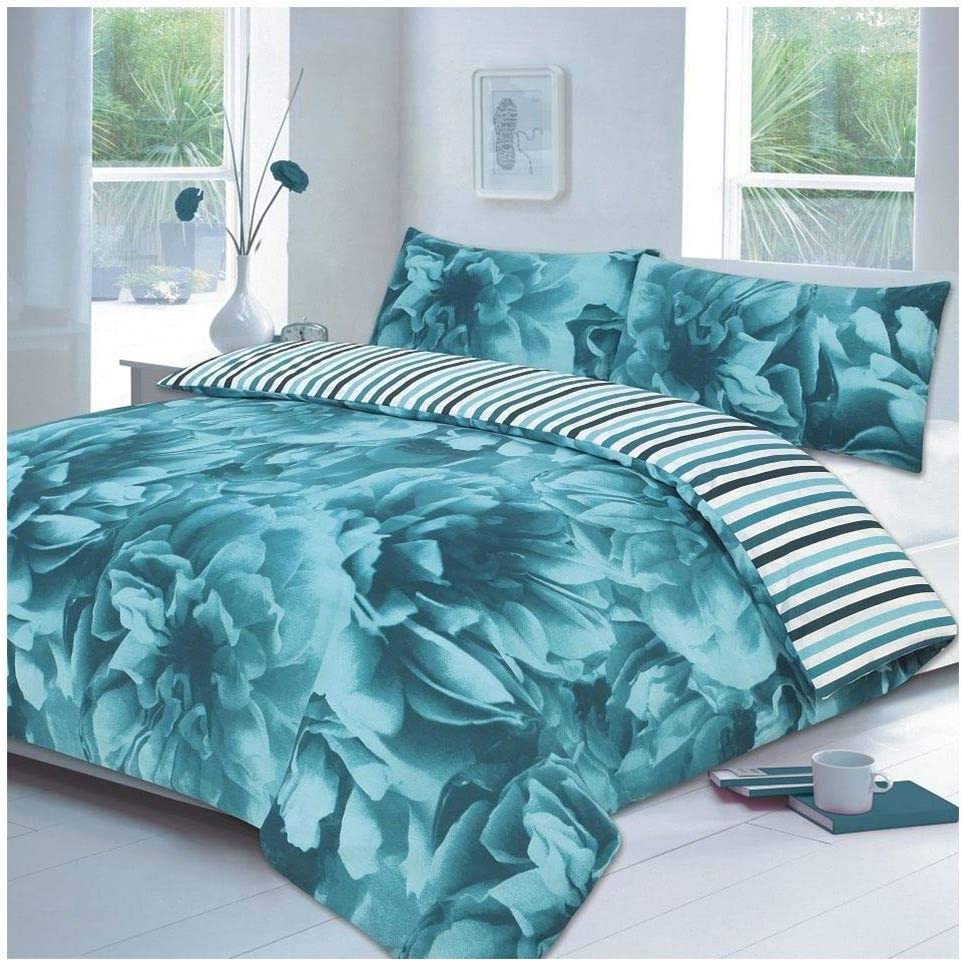 Rimi Hanger Rose Floral Modern Duvet Cover with Pillow Case Poly Cotton Bedding Cover Set Lilac Double