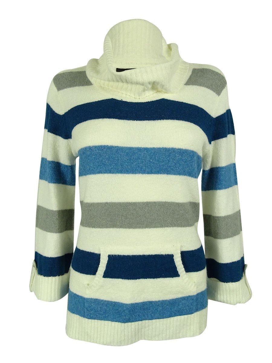 Style & Co. Women's Striped Turtleneck Sweater (PL, Tidal Teal)