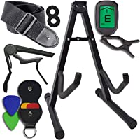 Mustang Guitar Accessories Kit - Stand, Clip-on Tuner, Strap, Capo, 4 Assorted Picks, Holder - For Acoustic and Electric Instruments - Great Gift For Beginners and Advanced Players