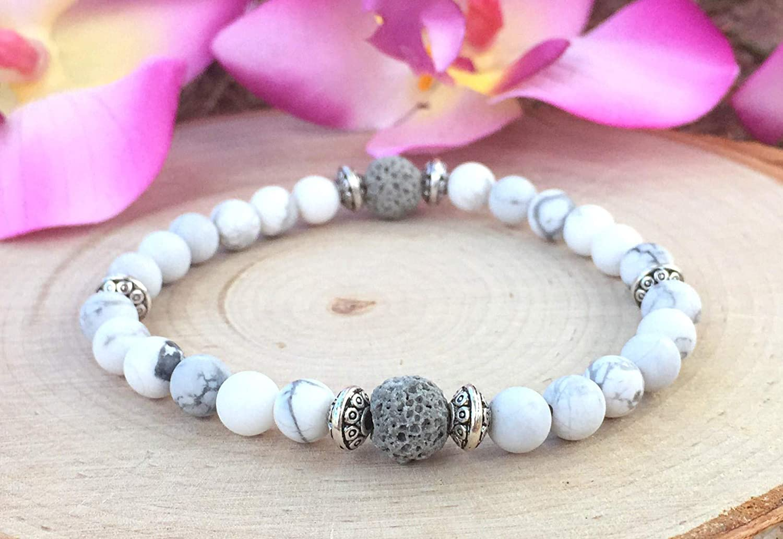 Amazonite Yoga Bracelet White Howlite Essential Oil Diffuser Bracelet Women/'s Oil Diffuser Bracelet White Lava Aromatherapy Bracelet