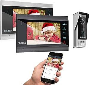 timbre exterior 1080p TMEZON Videoportero autom/ático con sistema de intercomunicaci/ón funciona solo con monitor intercom 1080p