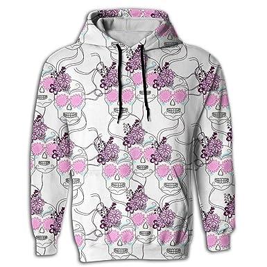 45b269379903 Amazon.com  3D Print Men s Hooded Sweatshirts Pink Flowers Skull Drawstring  Pullover Hoodies Pockets  Clothing