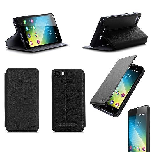 2 opinioni per Nera Custodia Pelle Ultra Slim per Wiko Lenny 2 smartphone- Flip Case Funda