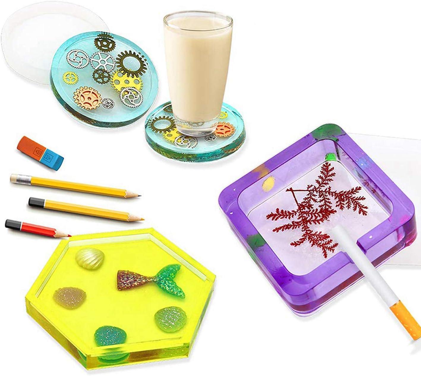 Moules en silicone de coupe-savon pour r/ésine moulage de r/ésine /époxy moules dart pour stylo tasse /à bricoler porte-bougie de savon cendrier pot de fleur coaster pendentif C-Clear-,