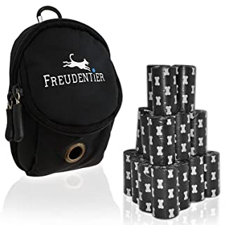 Bolsas biodegradables para residuos de perro 33x22cm (300 UNIDADES) | Incl. Dispensador de bolsas de basura multifuncional para perros | Extra grueso y absolutamente resistente Freudentier
