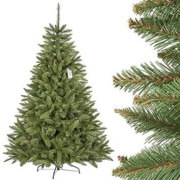 FairyTrees Árbol de Navidad Artificial Picea Natural, el Tronco Verde, Material PVC, el Soporte en Metal, 180cm: Amazon.es: Hogar
