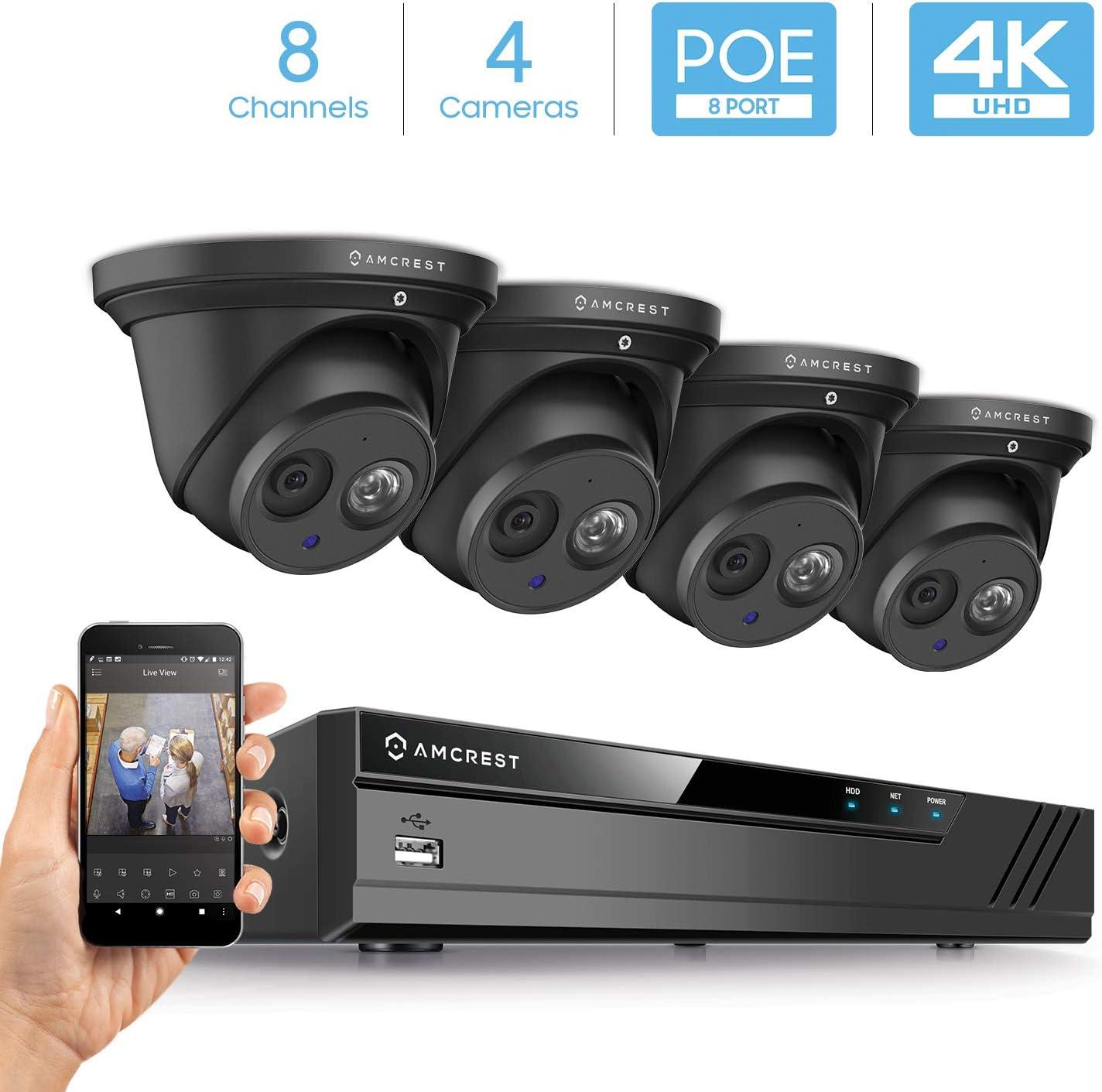 Amcrest 4K Security Camera System w 4K 8CH PoE NVR, 4 x 4K 8-Megapixel IP67 Weatherproof Metal Turret Dome POE IP Cameras 3840×2160 , 2.8mm Wide Angle Lens, NV4108E-IP8M-T2499EB4 Black