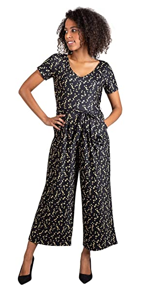 7fe458faec Popsy Clothing Ditsy Floral Culotte Jumpsuit with Pockets Regular   Petite  Length Short Sleeve Black