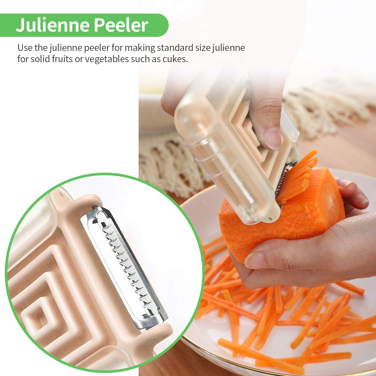 Seektop 3 in 1 Vegetable Peeler for Potato Tomato Carrot Zucchini Peelers with Swivel Julienne Serrated Stainless Steel Blades (Orange)