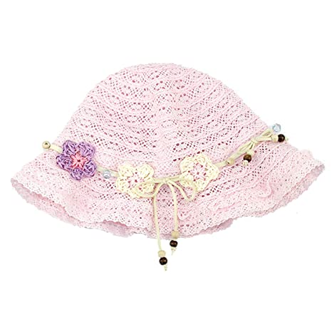 Baterflyo Girls Summer Sun Straw Hats Baby Lace Foldable Beach Pink Cap with Flower