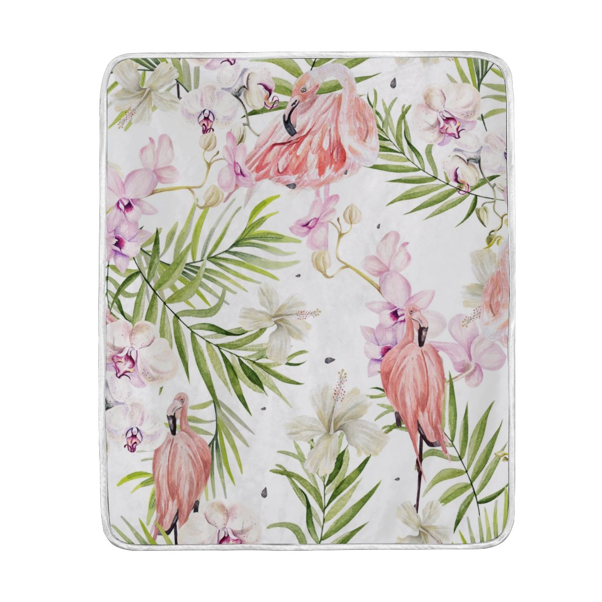 My Little Nest Warm Throw Blanket Watercolor Hibiscus Flowers Flamingo Bird Lightweight MicrofiberSoft Blanket Everyday Use for Bed Couch Sofa 50'' x 60''