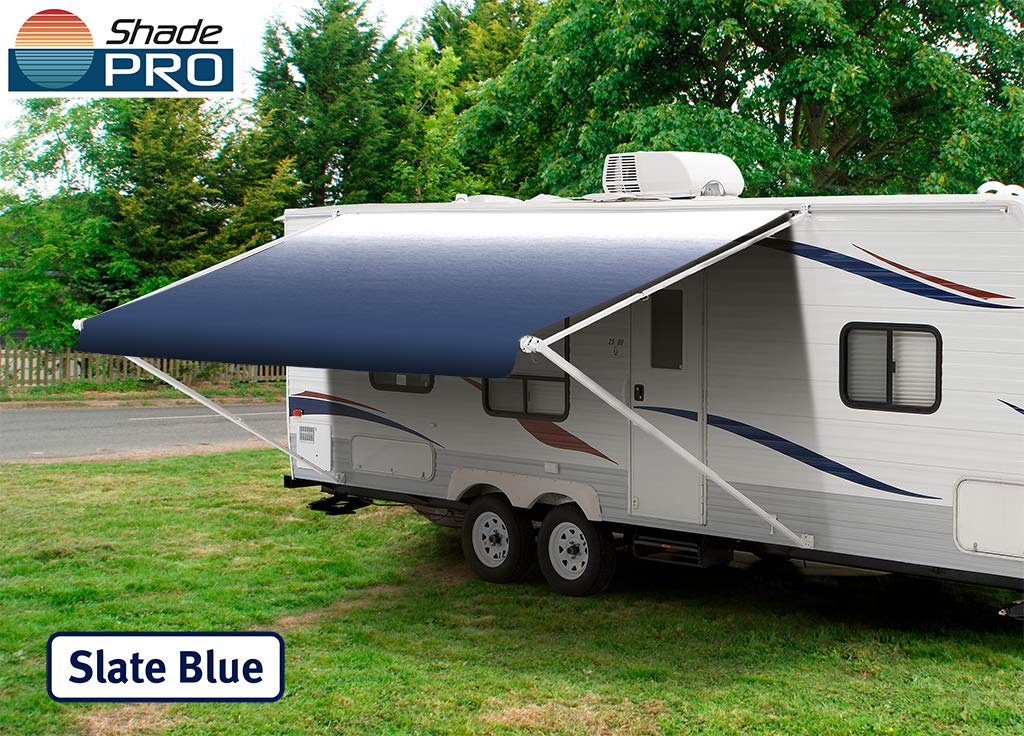 RV Vinyl Awning Replacement Fabric - Slate Blue Fade 16' (Fabric 15'2'') by Shade Pro