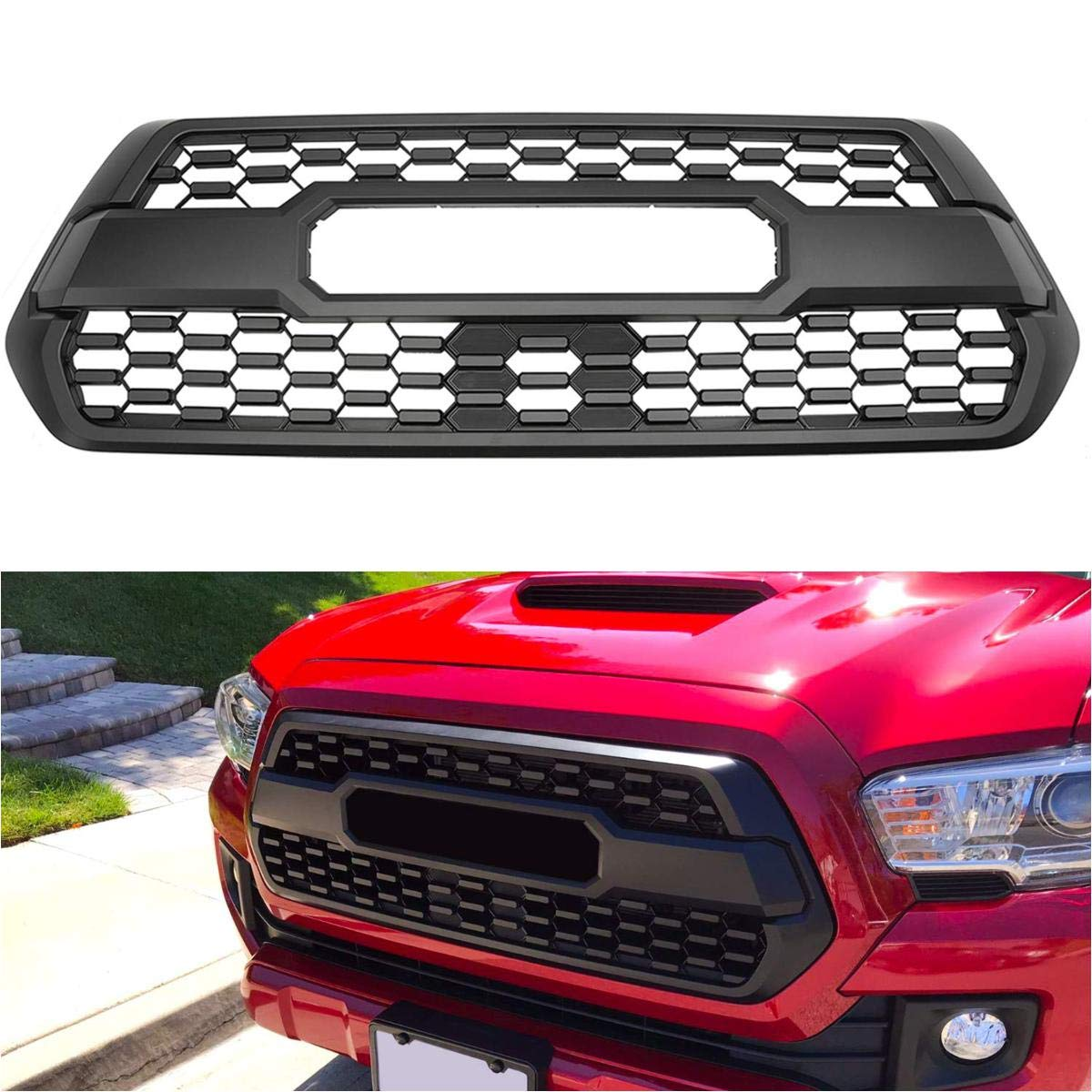 MGPRO 1pcs Black Honeycomb Mesh Front Bumper Hood ABS Plastic Grille For 2016-2019 Toyota Tacoma