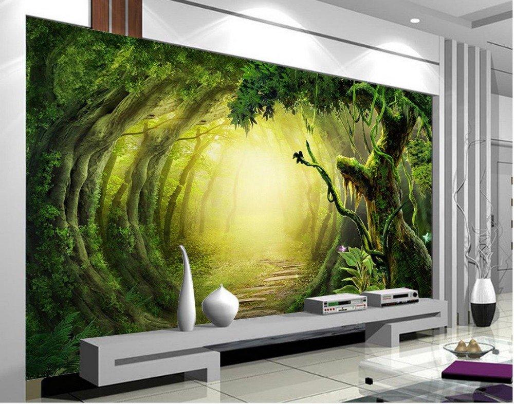 Fototapeten 3d Tapete photo Large Stereo romantisch Grüner Wald Wohnzimmer photo Large Wandbild,300x210cm