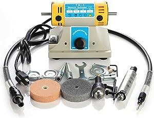 Upgraded Jewelry Rock Polishing Buffer Machine, 110V 350W High Speed Electric Jewelry Rock Grinder Bench Lathe Jewelry Tool Kits 10,000 rpm, DIY Grinding Milling Machine Gem Jade Polisher US Plug