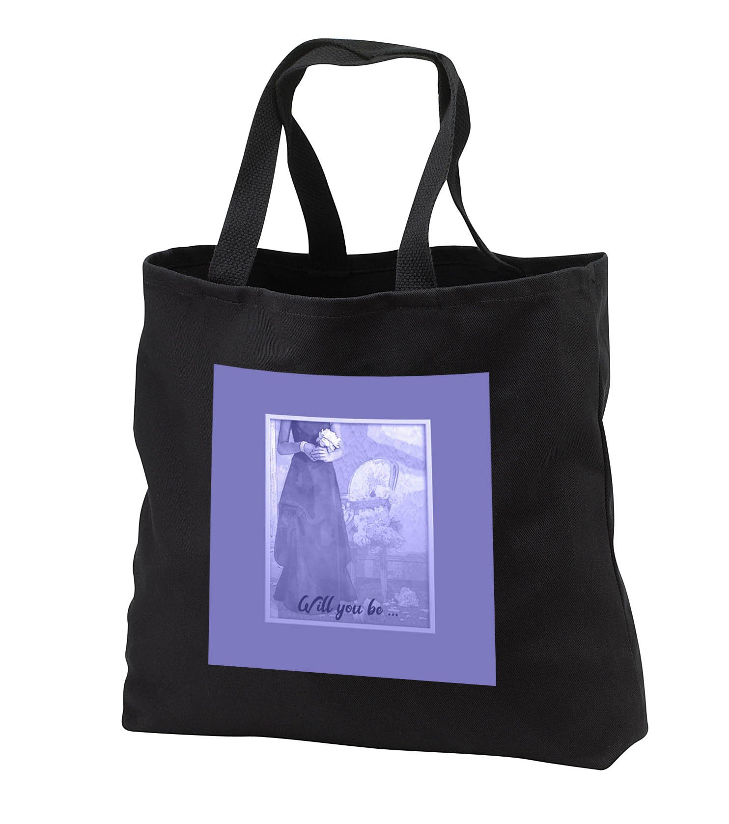 Beverly Turner Wedding Bridal Party Design - Will you be, Lady Holding Bouquet in Lavender Dress, Chair - Tote Bags - Black Tote Bag JUMBO 20w x 15h x 5d (tb_282219_3)