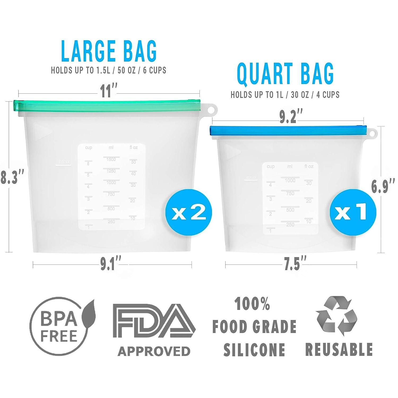 Amazon.com: Juego de 3 bolsas de silicona reutilizables para ...