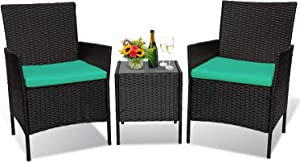 JD Trading 3 Pieces Outdoor Patio Furniture Sets,Garden Wicker Rattan Chair,Patio Furniture Set with with Glass Coffee Table and Comfortable Cotton Cushions for Balcony, Garden (Black-Blue)