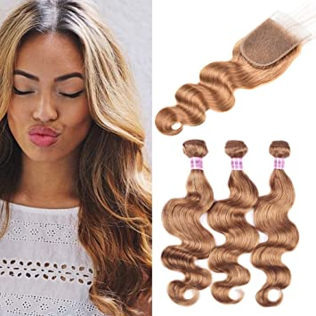 Women s Day Gifts Peruvian Body Wave With Lace Closure Hair Bundles  27  Honey Blonde Hair 701a652ab6
