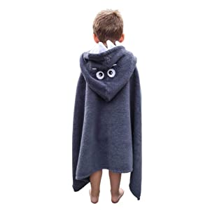 Soflo Baby Hooded Towel for Kids | Extra Large Toddler Bath Towel for Baby Boy | 100% Cotton Toddler Towels with Hood | Gray Shark Towel for Boys - 24 inches x 48 inches