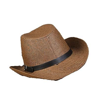 Hat 2018 Men s Summer Western Cowboy Grid Large Outdoor Travel Sun Hat  5706ad6ab9f
