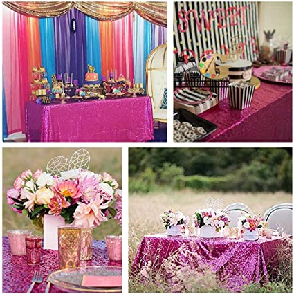 5a60e6894de5 Amazon.com  B-COOL 50  80   Rectangle Fuchsia Sequin Tablecloth For ...
