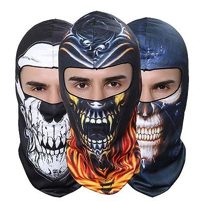 GANWAY Pack of 3 Outdoor Balaclavas Headwear Sun Mask Skull Ski Mask Hood for Airsoft Hunting Fishing Cycling Motorcycle Hat: Sports & Outdoors