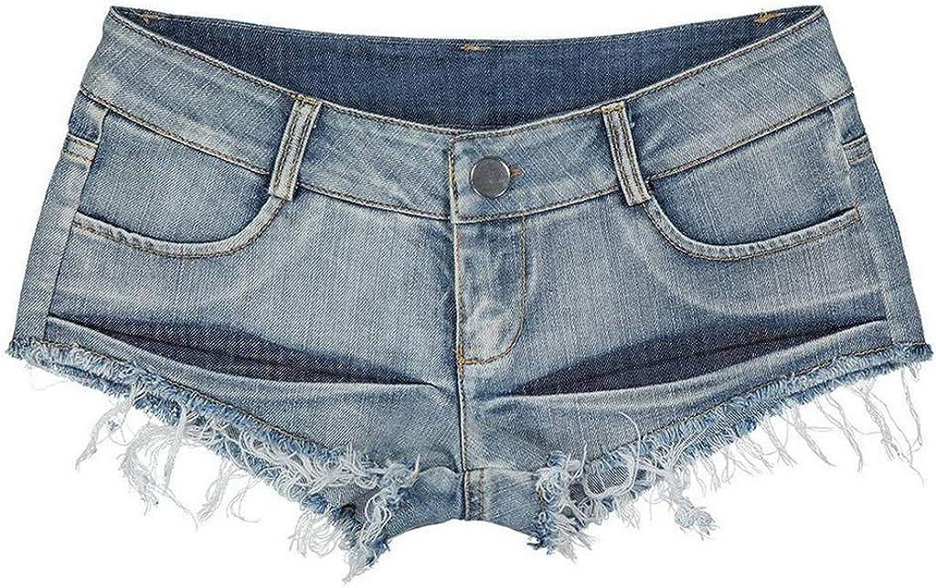 COMVIP Womens Low Rise Mini Denim Shorts Thong Cheeky Jeans Shorts