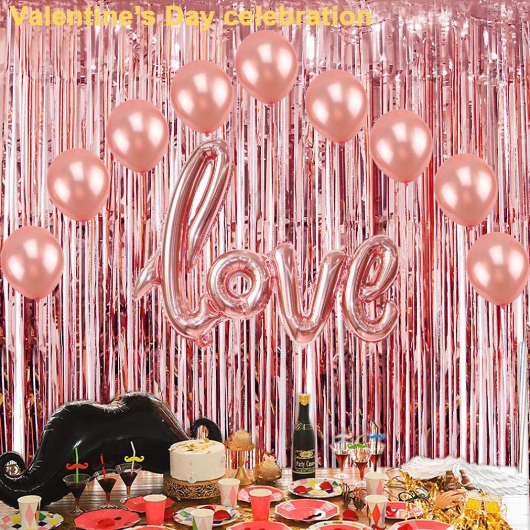 Iusun 2PC Metallic Tinsel Foil Curtains, Foil Curtains Backdrop Tinsel Backdrop Curtains Wedding Birthday Party Stage Decor (Rose Gold)